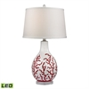 "Dimond 27"" Sixpenny Red Coral LED Table Lamp in White"