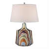 Technicolor Stripes Table Lamp With White Shade