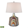 Technicolor Stripes LED Table Lamp With White Shade