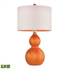 "Dimond 26"" Carluke Ceramic LED Table Lamp in Tangerine Orange"
