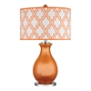Thatcham Table Lamp In Tangerine Orange And Polished Nickel