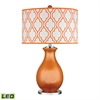 "26"" Thatcham Glass LED Table Lamp in Tangerine Orange"