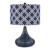 Peebles Ceramic Table Lamp In Navy Blue With Printed Shade