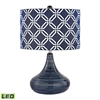 "Dimond 21"" Peebles Ceramic LED Table Lamp in Navy Blue"