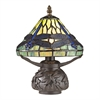 "11"" Flintwick Mini Dragonfly Tiffany Glass Table Lamp in Dark Bronze"