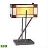 "20"" Fortwilliam Tiffany Glass LED Table Lamp in Matte Black"