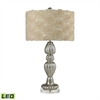 "Dimond 30"" Ribbed Glass LED Table Lamp in Silver Mercury"