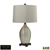 "Dimond TRUMP HOME 29"" Reverse Hammered Glass LED Table Lamp in Antique Mercury"
