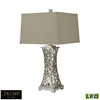 "TRUMP HOME 29"" Woven Metal Thread LED Table Lamp in Silver Leaf"