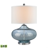 "Dimond 24"" Bulbus Sea Glass LED Table Lamp in Light Blue"