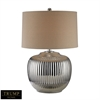 Trump Home Oversized Ribbed Ceramic Table Lamp in Silver