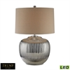 Trump Home Oversized Ribbed Ceramic LED Table Lamp in Silver