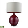 "30"" Blown Glass LED Table Lamp in Cerise Pink and Black Nickel"
