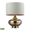 Blown Glass LED Table Lamp in Gold Antique Mercury Glass And Polished Nickel