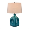 Ribbed Blues Ceramic Lamp
