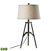 Functional Tripod LED Table Lamp in Restoration Black and Aged Gold
