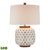 Woven Ceramic LED Table Lamp in White And Wood Tone