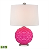 "22"" Glass LED Accent Lamp in Hot Pink"