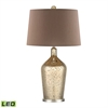 Glass Bottle LED Table Lamp In Gold Antique Mercury Glass