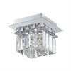 Crown 1 Light Flushmount In Chrome And Clear Crystal Glass