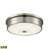 Towne Round LED Flushmount In Satin Nickel And Opal Glass - Small