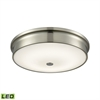Towne Round LED Flushmount In Satin Nickel And Opal Glass - Large