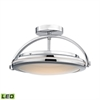 Quincy 1 Light LED Semi Flush In Chrome And Paint White Glass