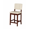 "Milano Counter Stool Cream, 18""W X 20""D X 39""H, Medium/Dark Walnut Finish"