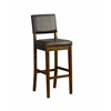 "Linon Milano Bar Stool 30, 17.75""W X 19""D X 44.13""H, Medium Dark Walnut"
