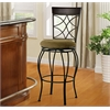 "Curves Back Bar Stool 30, 17""W X 20""D X 46""H, Metallic Brown & Brown Wood"