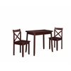 "Linon Dover Walnut Three Piece Dining Set, 36""W X 39.25""D X 29.8""H, Walnut"