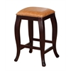 "Linon San Francisco Square Top Counter Stool - Caramel, 14.25""W X 14.25""D X 24""H, Wenge Finish"