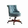 "Sinclair Office Chair Aqua - Dark Walnut Wood Base, 23""W X 27""D X 35""-39.5""H, Dark Walnut"