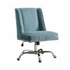 """Linon Draper Office Chair Aqua - Chrome Base, 24""""W X 27.25""""D X 36.25"""" - 40.25""""H, Chrome"""