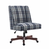 Draper Office Chair Blue Plaid - Dark Walnut Wood Base Dark Walnut