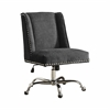 "Linon Draper Office Chair Charcoal - Chrome Base, 24""W X 27.25""D X 36.25"" - 40.25""H, Chrome"