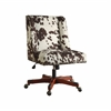 "Linon Draper Office Chair Udder Madness Milk - Walnut Wood Base, 24""W X 27.25""D X 36.25"" - 40.25""H, Walnut"