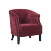 "Linon Tyrone - Red Tufted Barrel Chair with Nail Heads, 29.5""W X 28""D X 33""H, Dark Walnut"