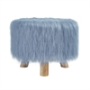 "Dusty Blue Faux Fur Stool, 16""W X 16""D X 12.6""H, Brown"