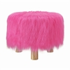 "Linon Azalea Pink Faux Fur Stool, 16""W X 16""D X 12.6""H, Brown"