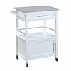 "Linon Mitchell Kitchen Cart with Granite Top, 24.02""W X 17.99""D X 36.02""H, White"