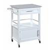 "Mitchell Kitchen Cart with Granite Top, 24.02""W X 17.99""D X 36.02""H, White"