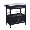 "Cameron Kitchen Cart with Granite Top, 30""W X 17.99""D X 36.02""H, Black"