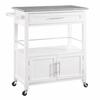 Cameron White Kitchen Cart with Granite Top White