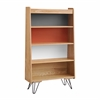 Perry Bookcase Natural, Charcoal, Orange, White