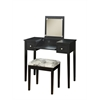 "Linon Vanity Set Black W/ Butterfly Bench, 36""W X 18""D X 30""H, Black"