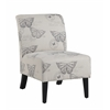 "Linon Linen Butterfly Lily Chair, 21.5""W X 29.5""D X 31.5""H, Dark Espresso"