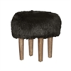 Samarina Black Faux Flokati Stool Brown Distressed Legs