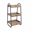 "Linon Three Tiered Bath Stand, 17.25""W X 13.5""D X 32.5""H, Rustic Brown, Iron"