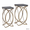 Set of Two Concrete Like Gold Nesting Tables Gold, Gray